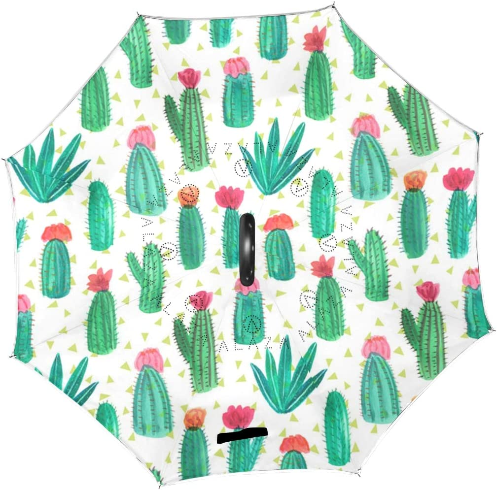SLEPOPO Inverted Umbrella,Windproof UV Protection Big Straight Umbrella with C-Shaped Handle and Carrying Bag Cute Cactus Double Layer Reverse