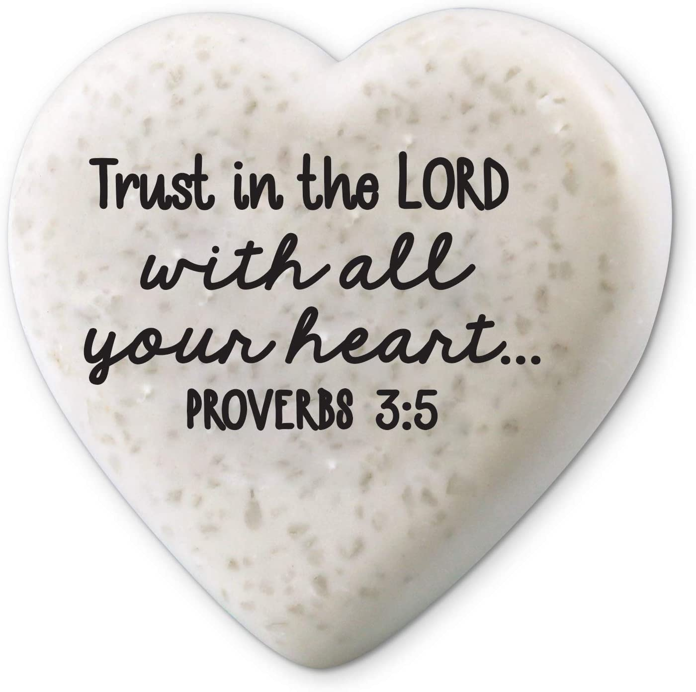 Lighthouse Christian Products Trust in The Lord Scripture Heart 2.25 x 2.25 Cast Stone Plaque