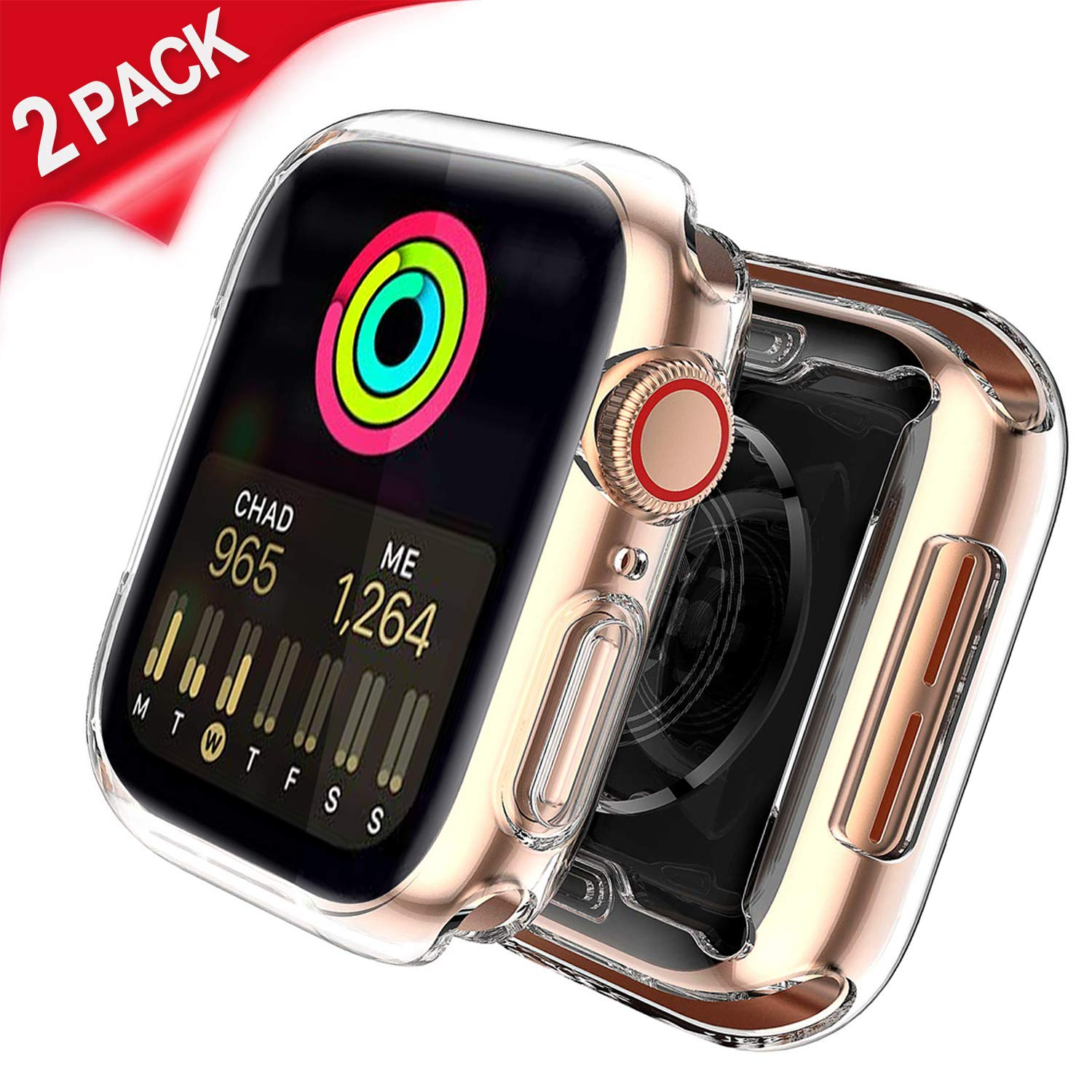Uitee [2-Pack Clear Cases for Apple Watch Screen Protector 40mm Series 4, Full Coverage Protective Case TPU HD Ultra-Thin Cover + [1-Pack] Apple Watch Band 40MM Sport Loop, Pink Sand by Uitee