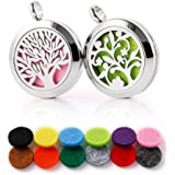 """RoyAroma 2PCS Aromatherapy Essential Oil Diffuser Necklace Stainless Steel Pendant Locket,23.6"""" Adjustable Chain Gift Set"""