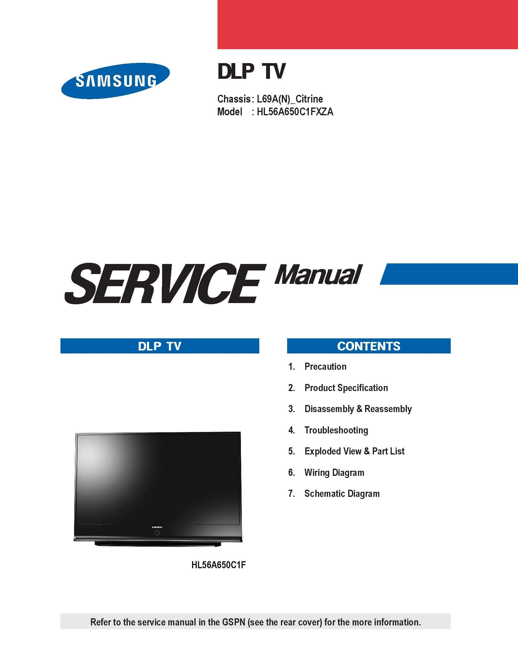 Samsung HL56A650C1FXZA service manual: Samsung: 0912345566502: Amazon.com:  Books