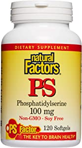 Natural Factors, Phosphatidylserine, Support for Memory, Concentration and Brain Functions, Soy and Gluten Free, 120 softgels (120 servings)