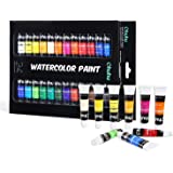 Watercolor Paint Tubes, 24 Water Colors Ohuhu Art Watercolors Painting Kit for Artists, Students, Beginners, Water-Color Paints Kit for Landscape Portrait Paintings on Canvas, 12ml x 24 Tubes