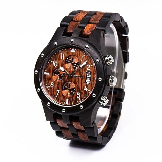 BEWELL Reloj de madera para hombres Reloj de cuarzo de hombre de negocios Reloj de madera de madera negra con caja de regalo: Amazon.es: Relojes