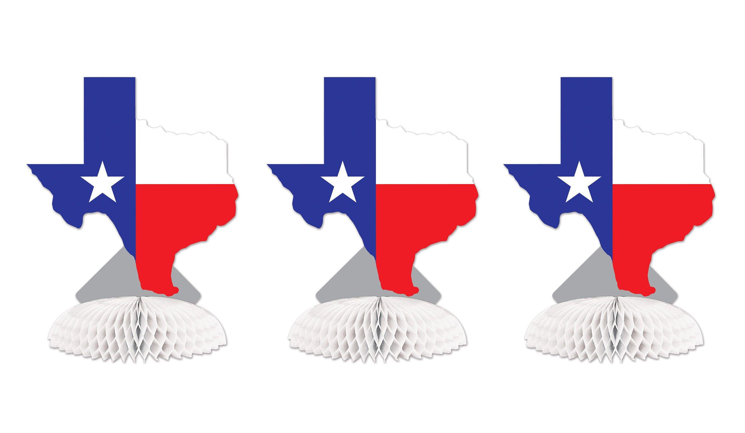 Beistle SS55894ITX 3Piece Texas Centerpieces, 8.25'', , Multicolored