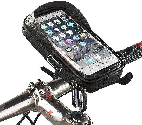 Soporte Móvil Para Bicicleta Soporte Teléfono ANVIEWER Bicicleta Accesorios de Bicicletas Soporte de Teléfono Celular con Visor Solar Transparente Funda Táctil Protector de Capa Pantalla Bolsa Impermeable de Manillar Rotación de 360 °