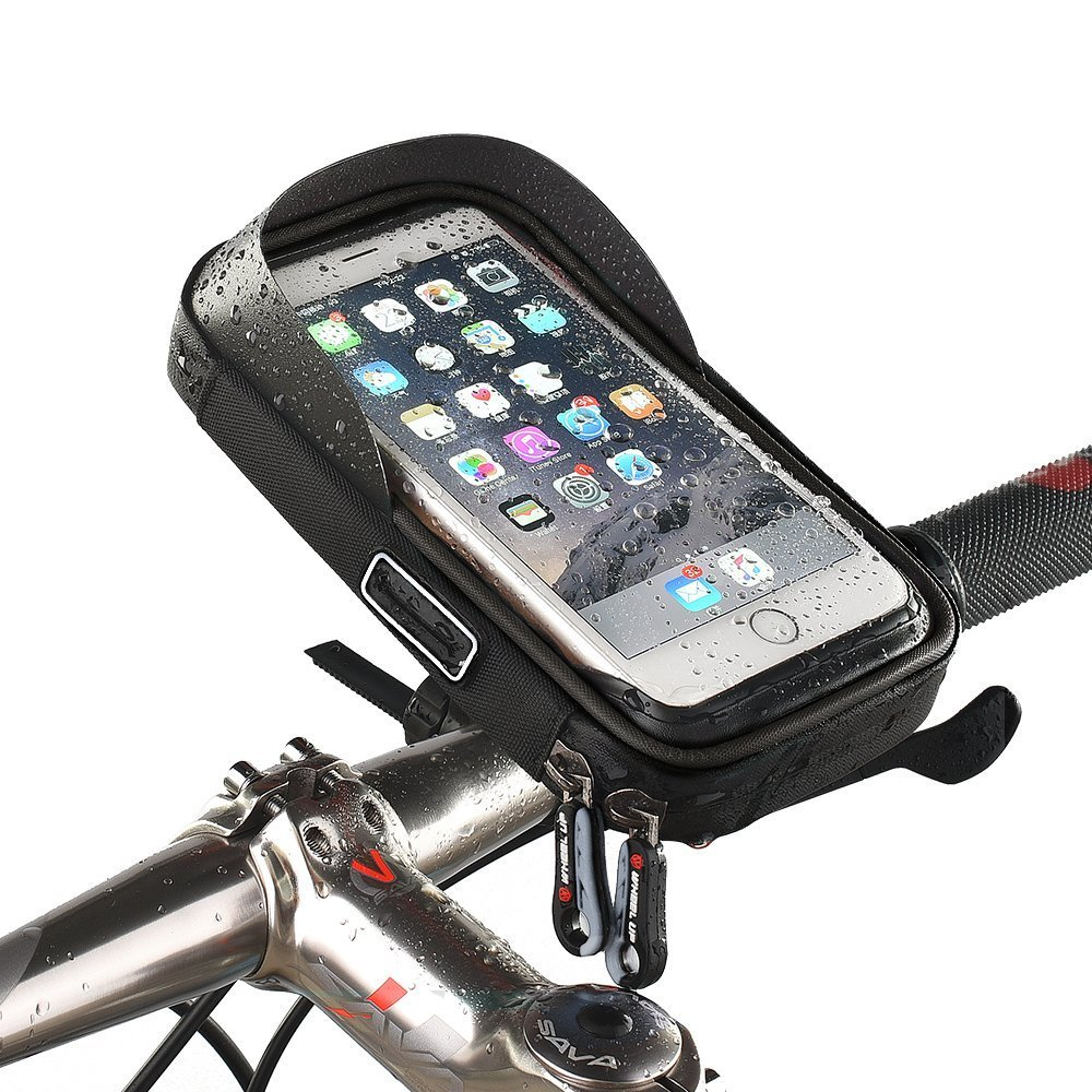 MOOZO Bike Handlebar Bag, Universal Waterproof Cell Phone Pouch Bicycle & Motorcycle Handlebar Phone Mount Holder Cradle with 360 Rotate for iPhone Samsung HTC LG Smartphones up to 6'' (Black) by MOOZO