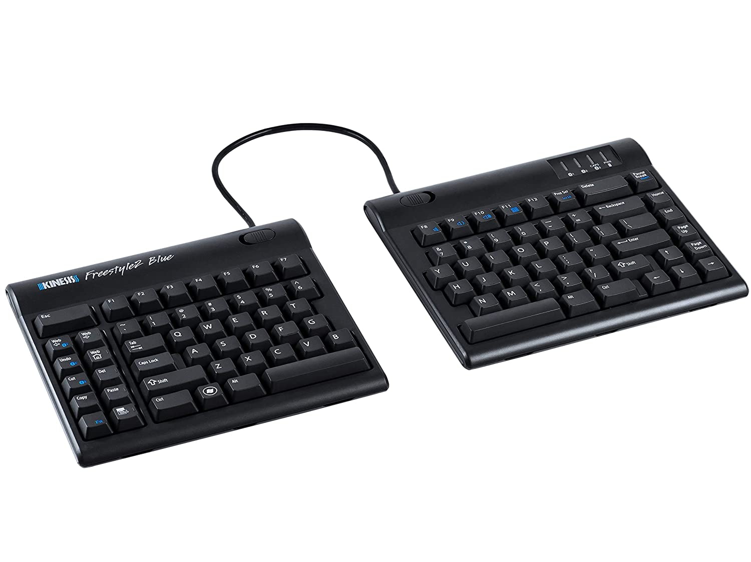 196839f88cf Amazon.com: Kinesis Freestyle2 Blue Wireless Ergonomic Keyboard for PC (9