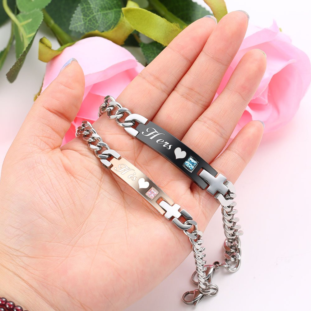 Gagafeel His Only Her One Stainless Steel Chain Couple Bracelet Gift Set for Lover (His Hers)
