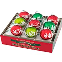 "Shiny Brite Holiday Splendor 2.5"" Flocked Ornaments - Set of 9"