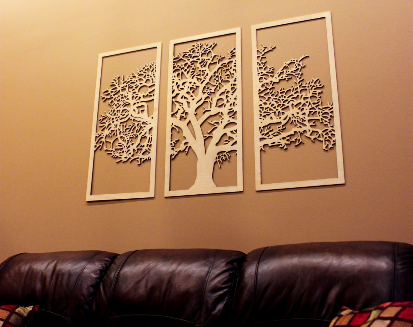 Skyline Workshop Tree Of Life Maple 3 Panel Wood Wall Art Beautiful Living Room Decor Modern Art