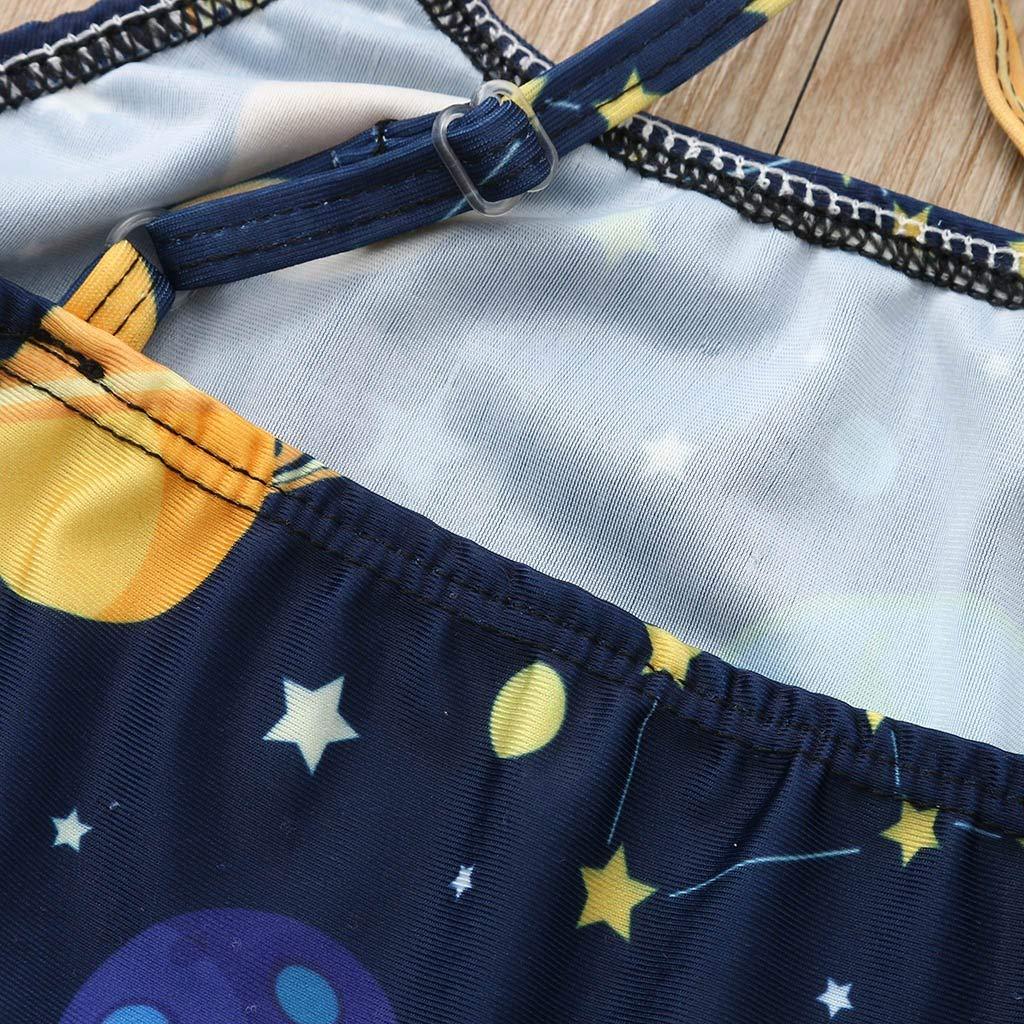 SiQing Beach Clothes Childrens Kids Girls Cartoon Stars Planet Bikini One Piece Swimsuit