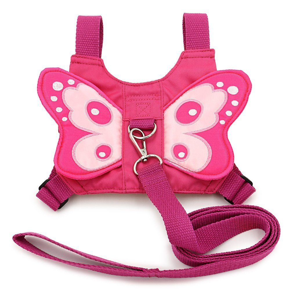 Cisixin Baby Toddler Kids Walking Safety Mini Backpack Harness Reins For 1-3 Year Old, Adjustable Strap and Buckle, Pink Butterfly