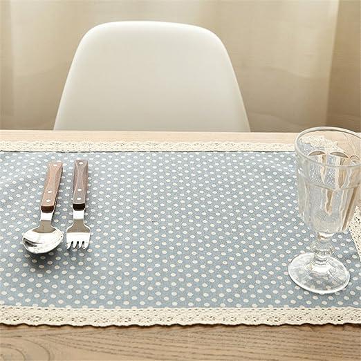 GUJJ Puntilla Puntilla Tela algodón Punto Wave Table Estera Western vajilla, 32 * 45cm: Amazon.es: Hogar