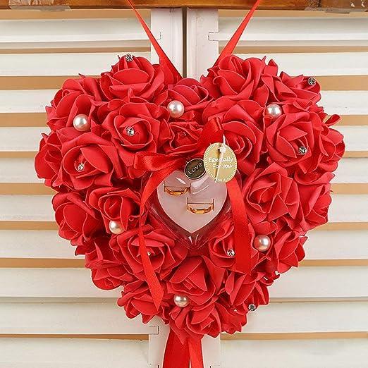 Romántico Detalle Rosa Forma de Corazón Boda Caja Anillo ...