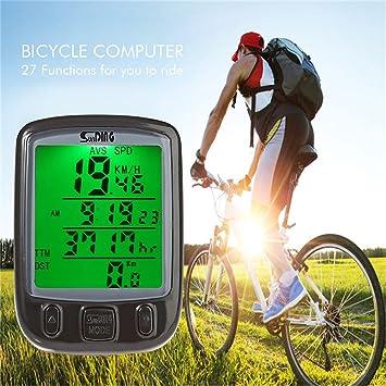 Para bicicleta multifunción odómetro impermeable bicicleta ordenador velocímetro odómetro LCD Backlight Sensor de movimiento impermeable al
