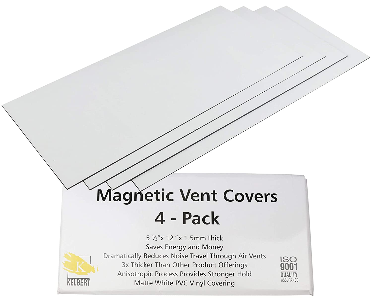 Magnetic Vent Cover – Super Strong and Extra Thick Wall/Floor/Ceiling Vent Covers (4-Pack) That Will Reduce Sound, Very Flexible, and Will Stick to Your Vents – Made from Premium Magnets by Kelbert