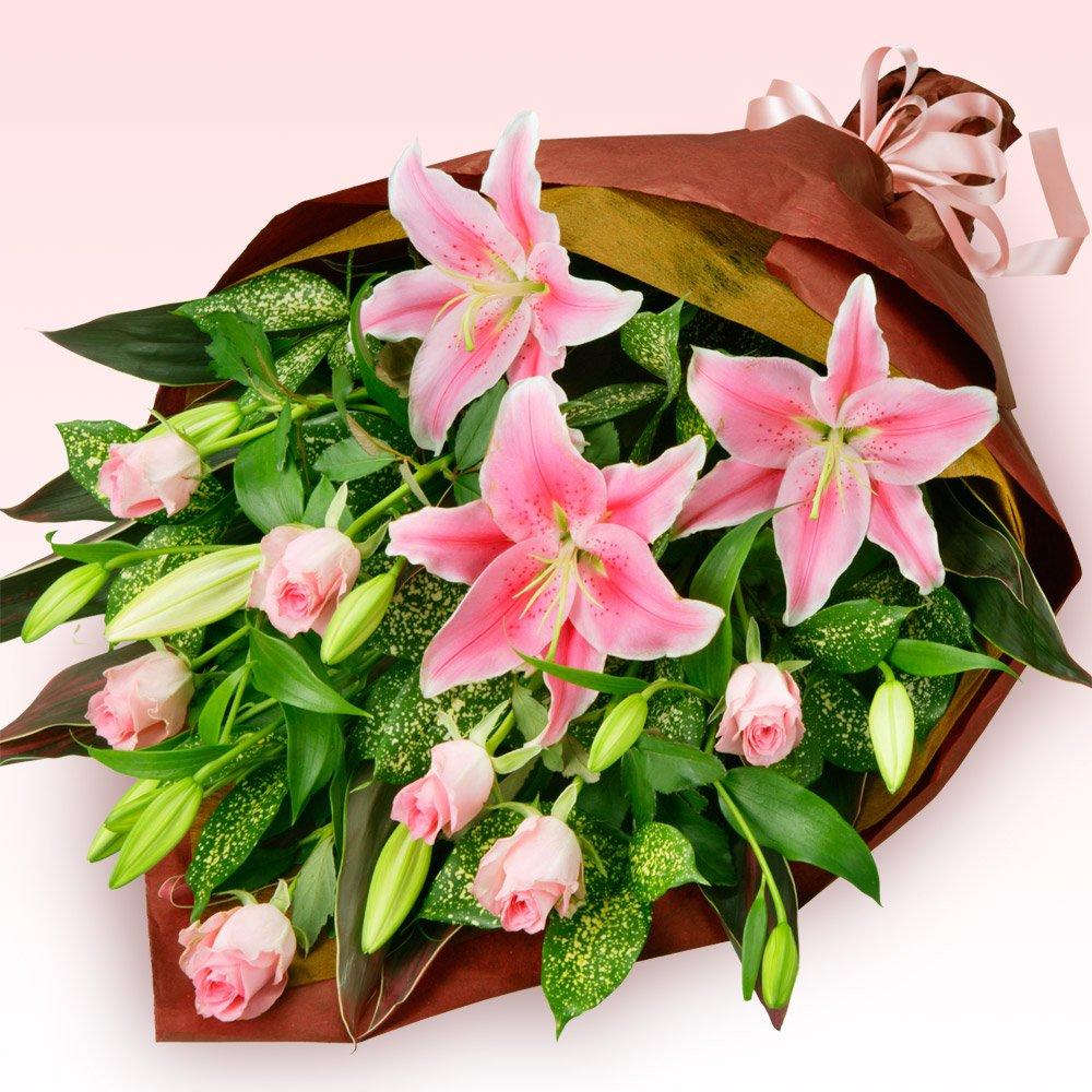 ピンクユリとピンクバラの花束