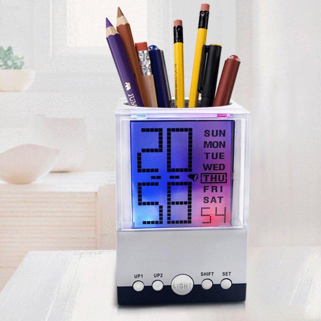 Unbekannt GAOLILI Kreative Bunte Kalender Stifthalter Wecker Mode Persönlichkeit Büro Stifthalter Multifunktions Elektronische Uhr