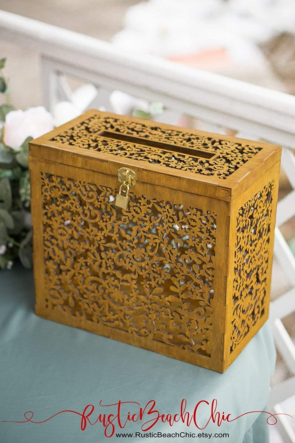 Amazon Com Rustic Wedding Card Box With Lock And Key With