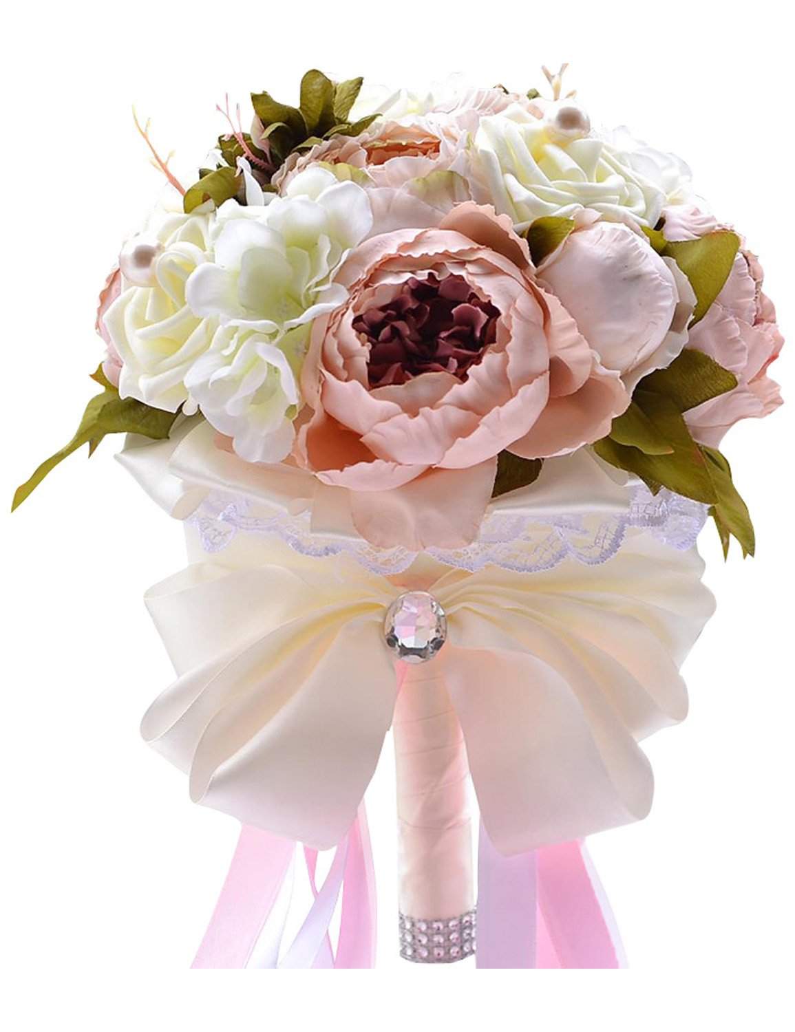 Clearbridal Silk Rose Bridal Wedding Bouquets Handmade Romantic Artificial Holding Flowers with Diamond Pearl WF034 Brown