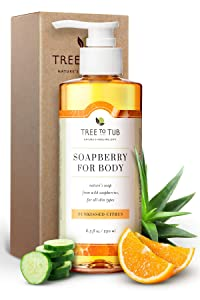 Sensitive Skin Body Wash by Tree to Tub - pH 5.5 Balanced Moisturizing Body Wash. Eczema Body Wash for Women and Men, with Wild Soapberries Organic Aloe Vera 8.5 oz