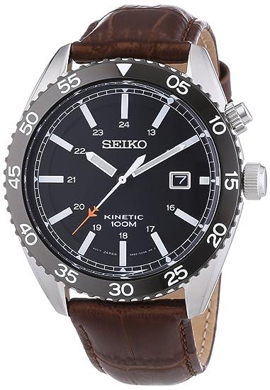 Seiko Kinetic - Reloj de automático para hombre, con correa de cuero, color marrón: Seiko: Amazon.es: Relojes
