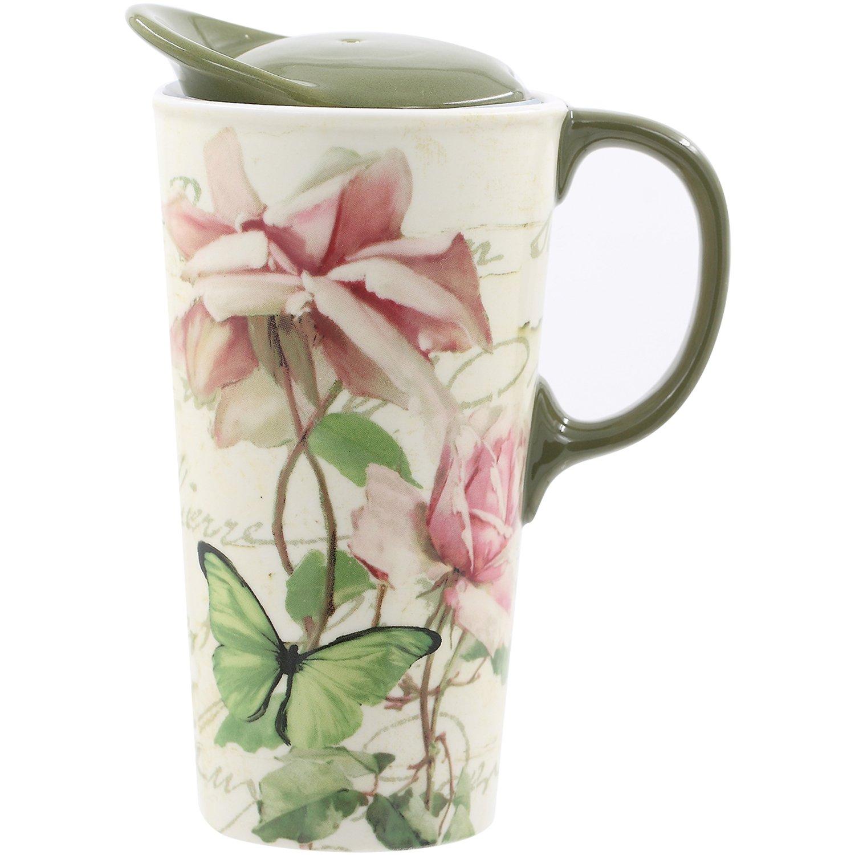CEDAR HOME Travel Coffee Ceramic Mug Porcelain Latte Tea Cup With Lid in Gift Box 17oz. Pink Floribunda Flower