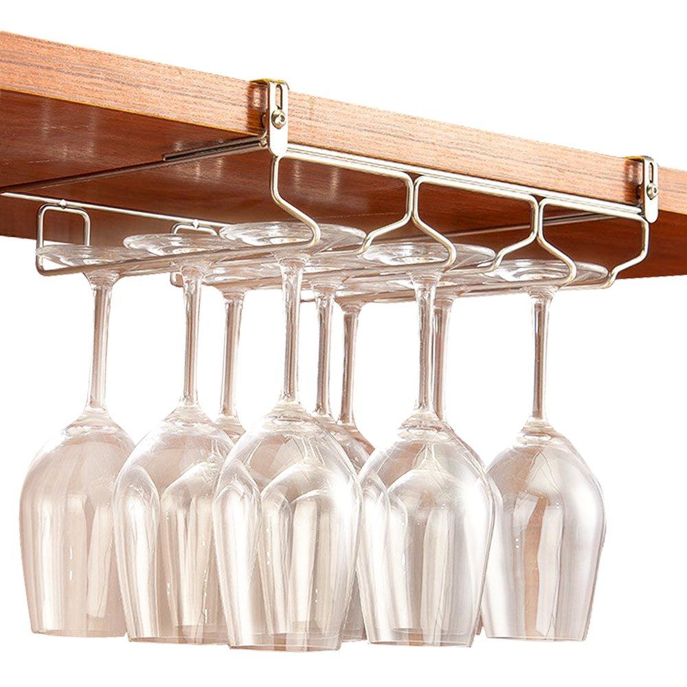 GeLive Under Cabinet Wine Glass Hanger, Adjustable Stemware Holder, Drying Rack Organizer for Bar, Kitchen, Stainless Steel, Needn't Drilling Screw