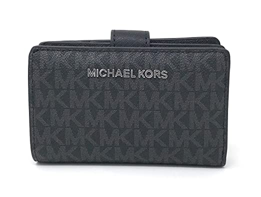 6fc90e08e6bc Michael Kors Jet Set Travel PVC Signature Bifold Zip Coin Wallet Clutch  (Black PVC 2018