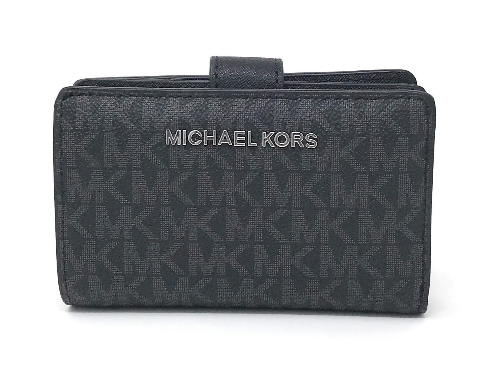 Michael Kors Jet Set Travel PVC Signature Bifold Zip Coin Wallet Clutch (Black PVC 2018)