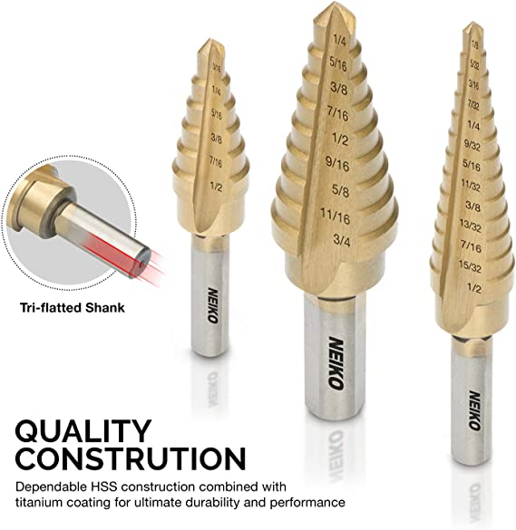NJ-HH Industrial Rotary Drill 3pcs Nitrogen Step Drill Bit Set 3//16-1//2 1//4-3//4 3//16-7//8 Drill Accessories Drill Bits Cutting