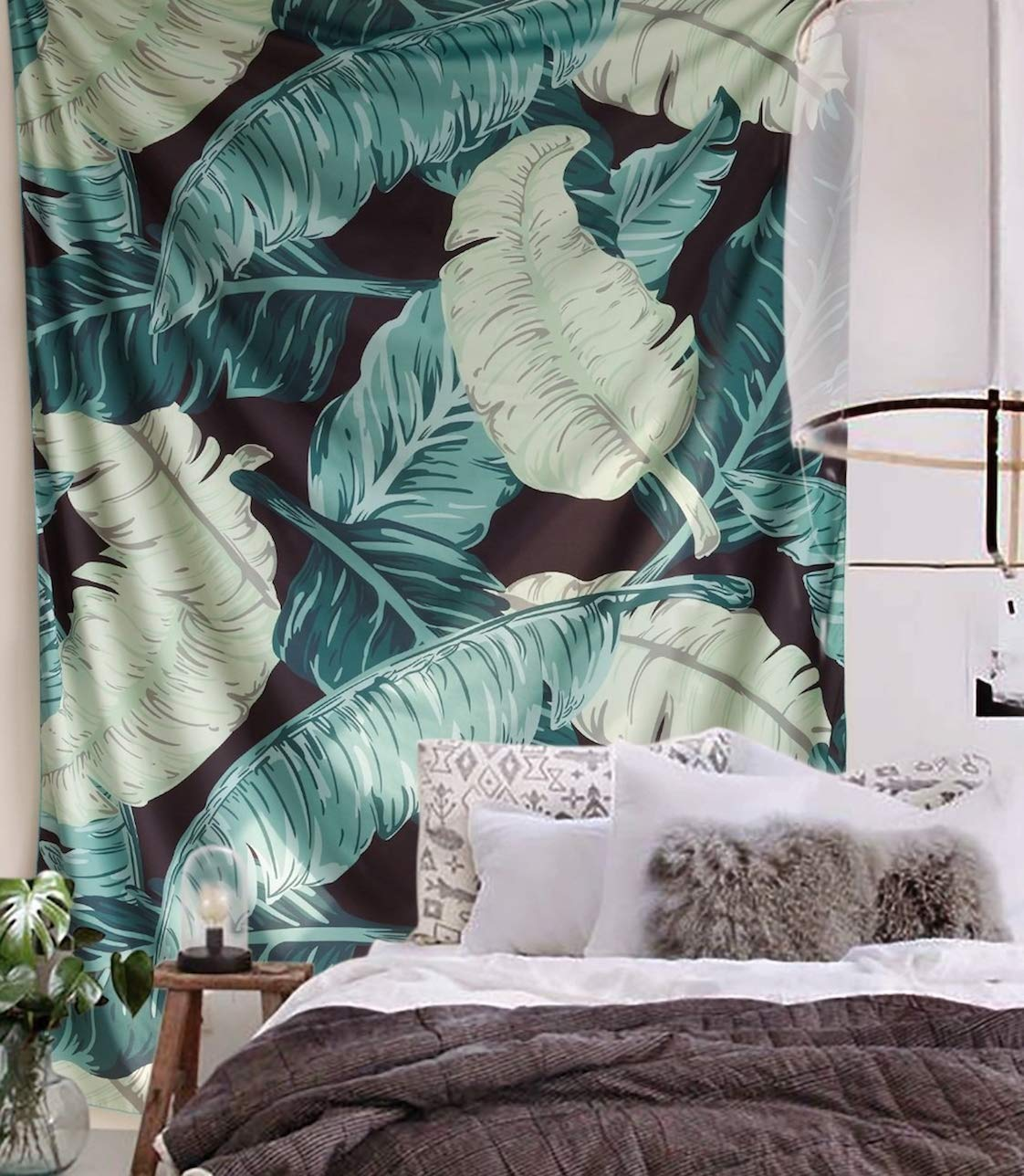 "FLBER Banana Leaf Wall Tapestry Home Decor,60""x 80"",Twin Size - IMPORTANT NOTE: when placing order, please select seller "" Flber Outlet '' which is Fulfilled by Amazon.We offer tag and card for all our customers service! If you bought fake and shoddy products from other sellers, please return it asap. Lightweight Polyester Fabric.-banana leaf tapestry Size:60 inches x 80 inches, Twin size. - living-room-decor, living-room, home-decor - 71PIUlDOj%2BL -"