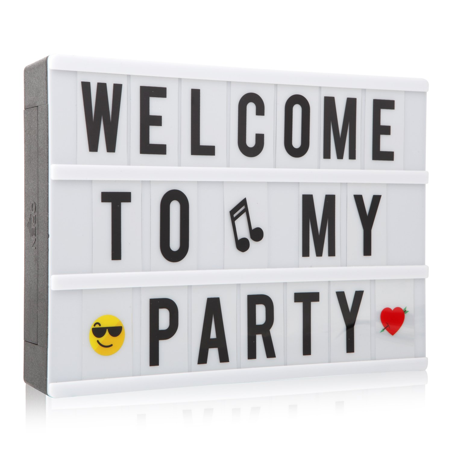 A4 LED Light up Box Sign Cinematic Message Letter Box NXENTC Plastic Cinema Sign with 120 Characters Numbers and Emojis
