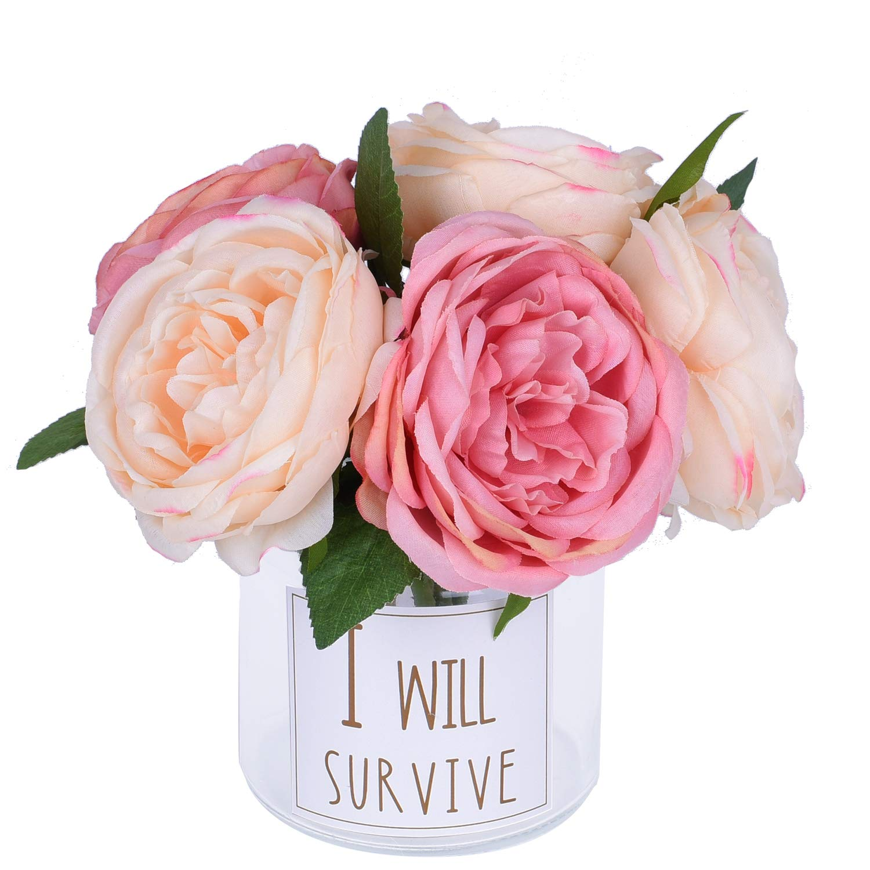 97fd6347bf Amazon.com: Artiflr Peonies Artificial Flower Bouquet, 5 Heads ...