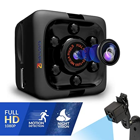 Cop Cam Spy Hidden Camera - Cameras for Indoor or Outdoor Surveillance -  Mini Nanny Home Office or Car Video Recorder with 1080p HD Recording and