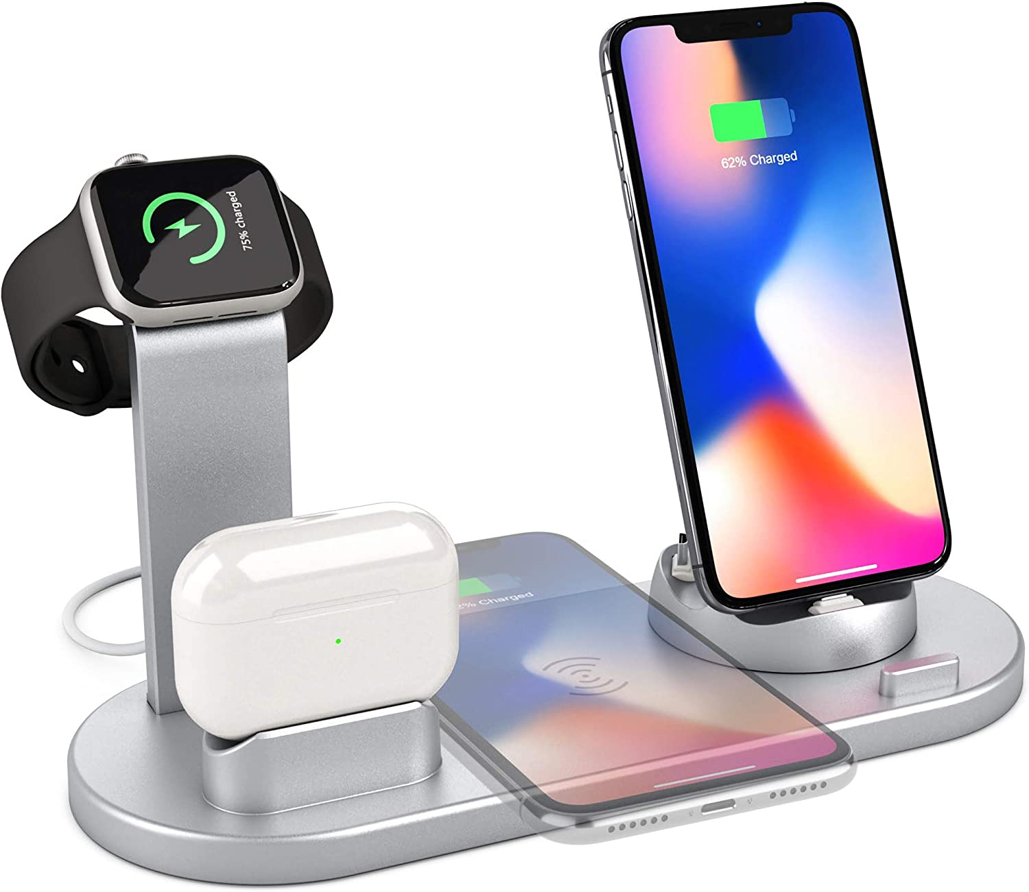 4 in 1 Charging Stand Compatible with iWatch Series 5/4/3/2/1, AirPods and iPhone 11(Silver)