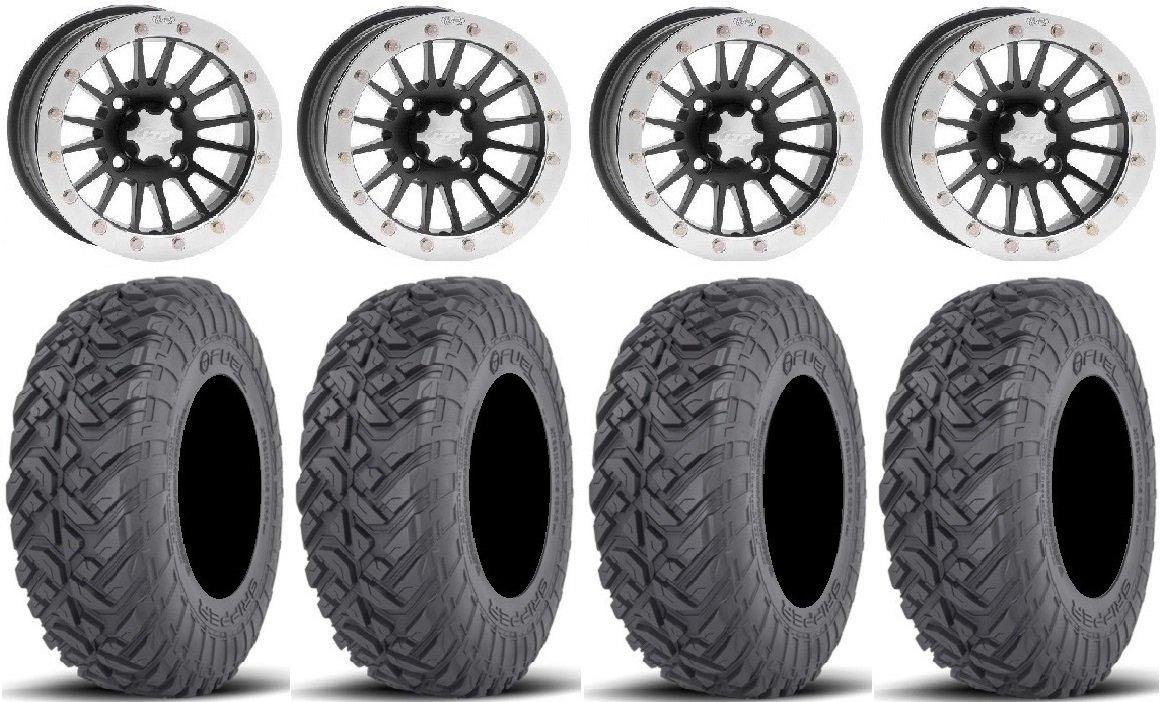 Bundle - 9 Items: ITP SD Beadlock 15'' Wheels 32'' Gripper Race Tires [4x156 Bolt Pattern 10mmx1.25 Lug Kit]