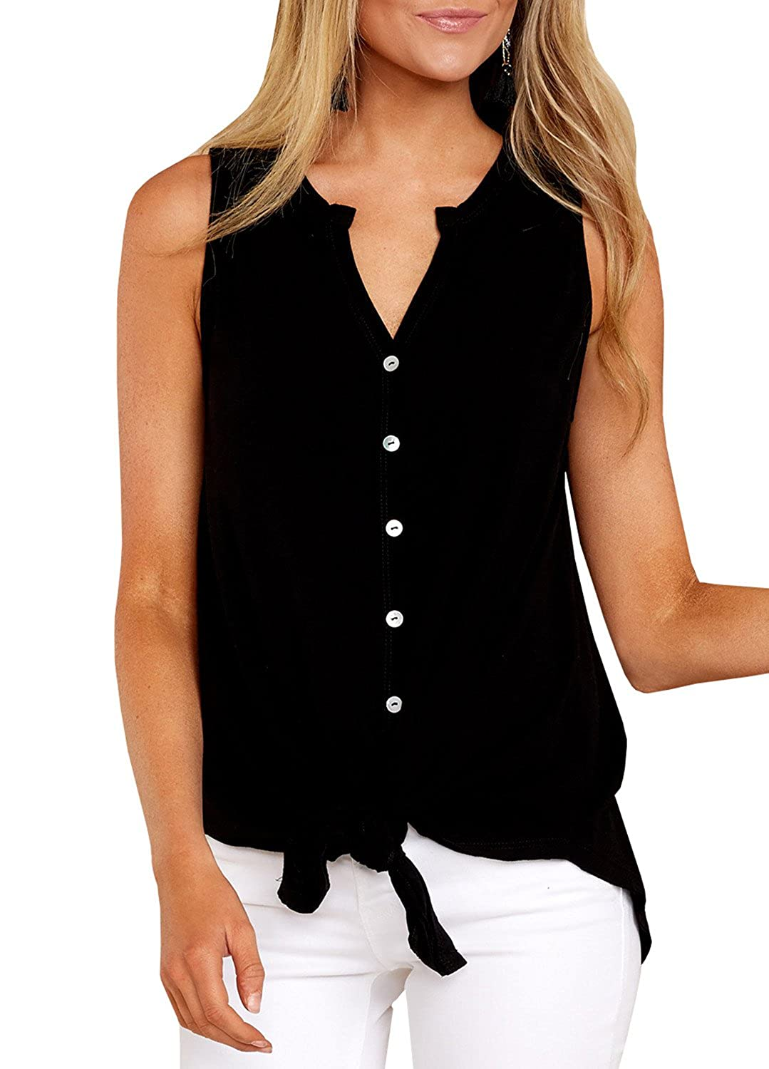 20f1db7d6a1 Ivay Women s Sleeveless Tie Front Henley Shirts Button up Tank Top at  Amazon Women s Clothing store