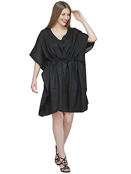 bf3c02ea40 SKAVIJ Womens Maxi Length Caftan Embroidered Cotton Kaftans Ladies Gift  Item Nightgown Plus Size Black