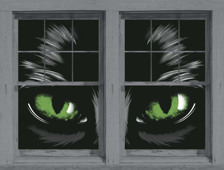amazoncom wowindow posters green eyed glowing eyes halloween window decoration two 345x60 backlit posters prints posters prints - Halloween Window