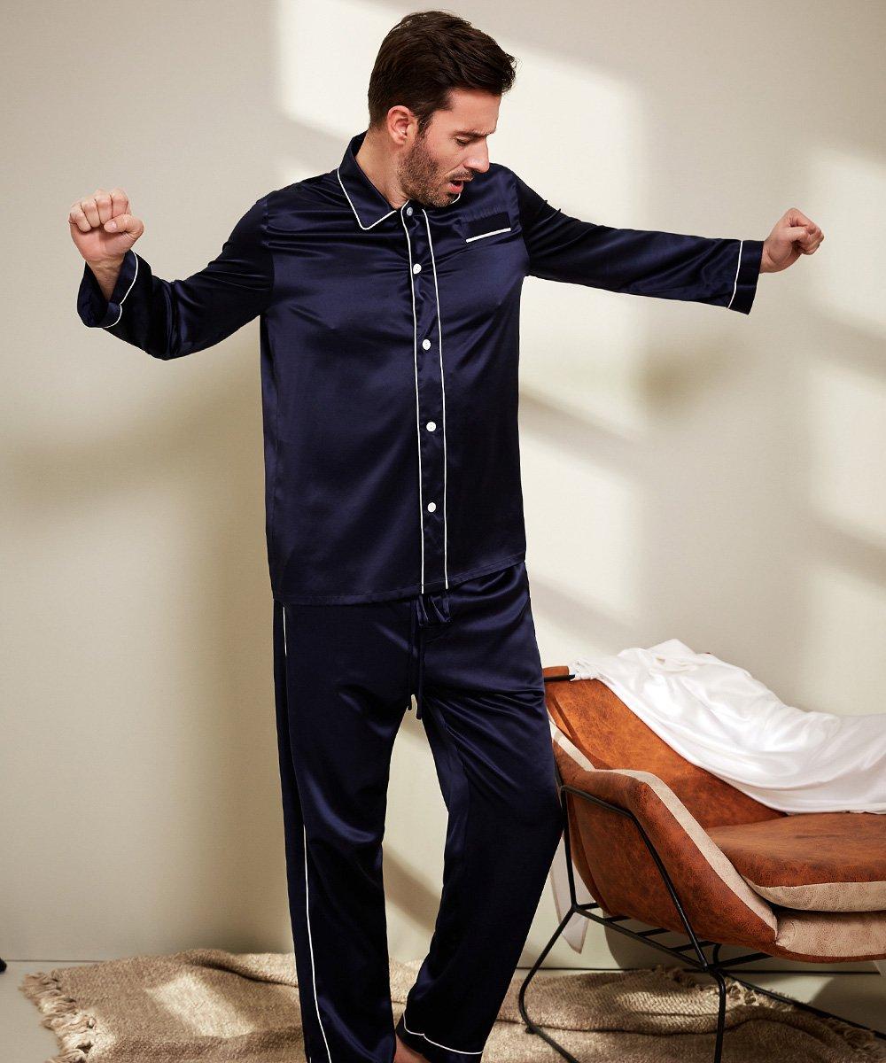 LilySilk Silk Pajamas Set For Men Summer 22 Momme Most Comfortable Sleepwear Navy Blue L by LilySilk (Image #3)