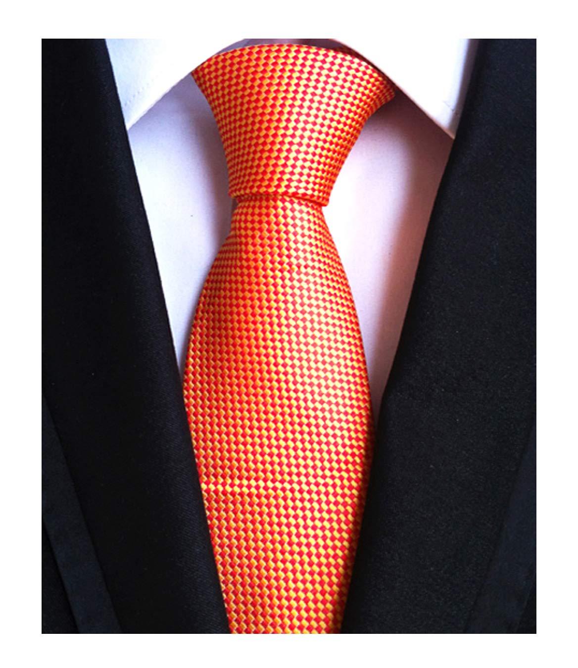 Yellow Orange Silk Ties Auttmn Formal Dress Necktie Decent Holiday Gifts for Men