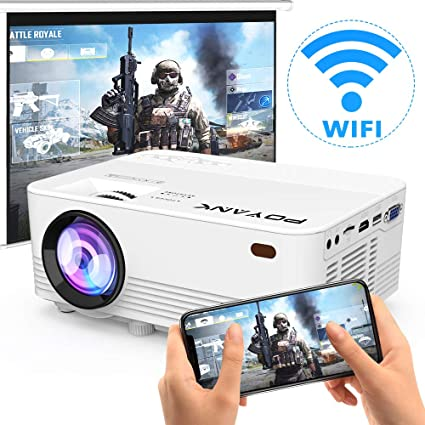 [Wireless Projector] POYANK 3800Lux LED Wireless Mini Projector, WiFi Projector Compatible with Smartphones, Video Games, TV Box Full HD 1080p ...