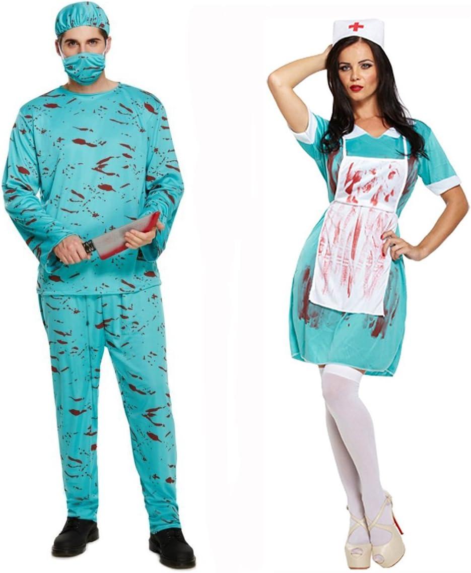 Zombie Doctor Surgeon Nurse Suit Fancy Dress Halloween Horror Couples Costume UK