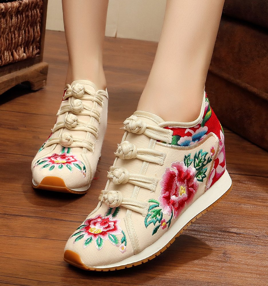AvaCostume Womens Peony Embroidery Wedge Casual Travel Walking Shoes B07DJWN7S5 40 M EU|Beige(inner Lining Cotton)