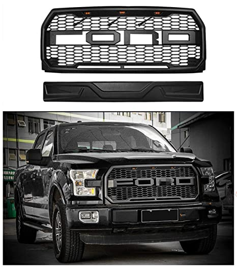 Raptor Style Grille For 2015 2017 Ford F 150 Front Grill Matte Black Xl Xlt Lariat King Ranch Platinum Limited W F R Evil Eyes Style Detachable