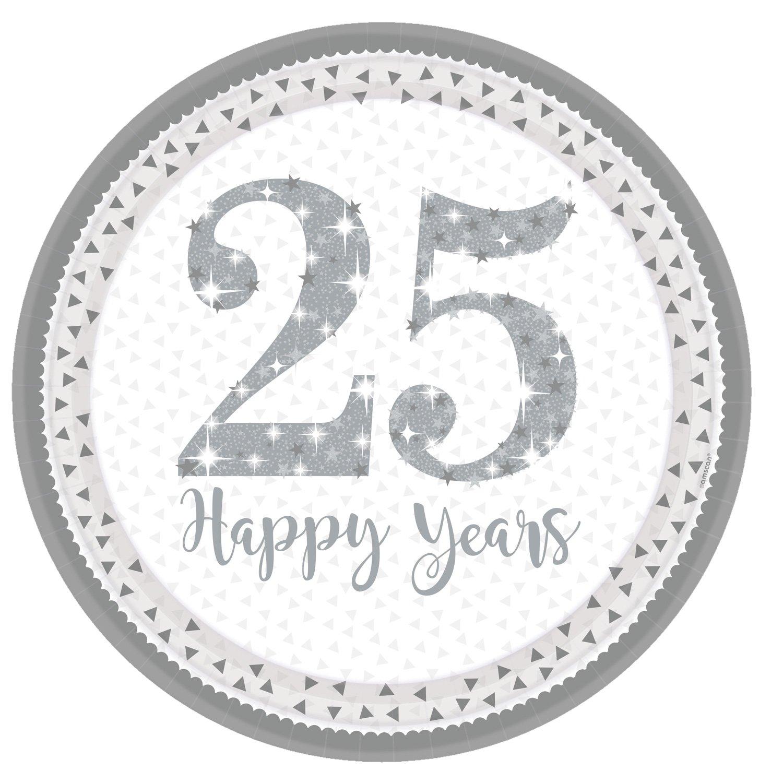 Amscan International 9902199 23 cm Sparkling Silver Anniversary Prismatic Paper Plates