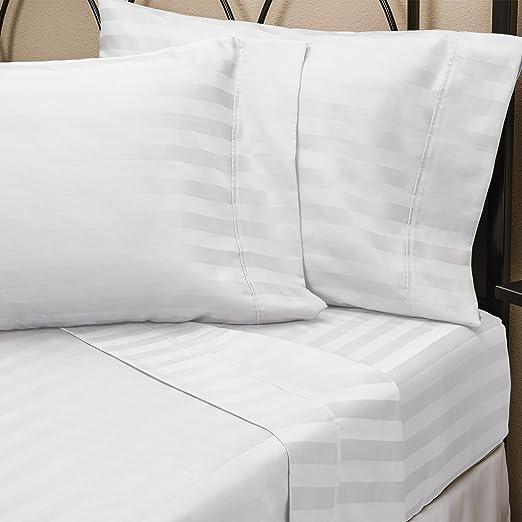 Puro 100% algodón egipcio rey blanco rayas juego de sábanas de satén (sábana bajera, sábana, fundas de almohada), 250 hilos: Amazon.es: Hogar