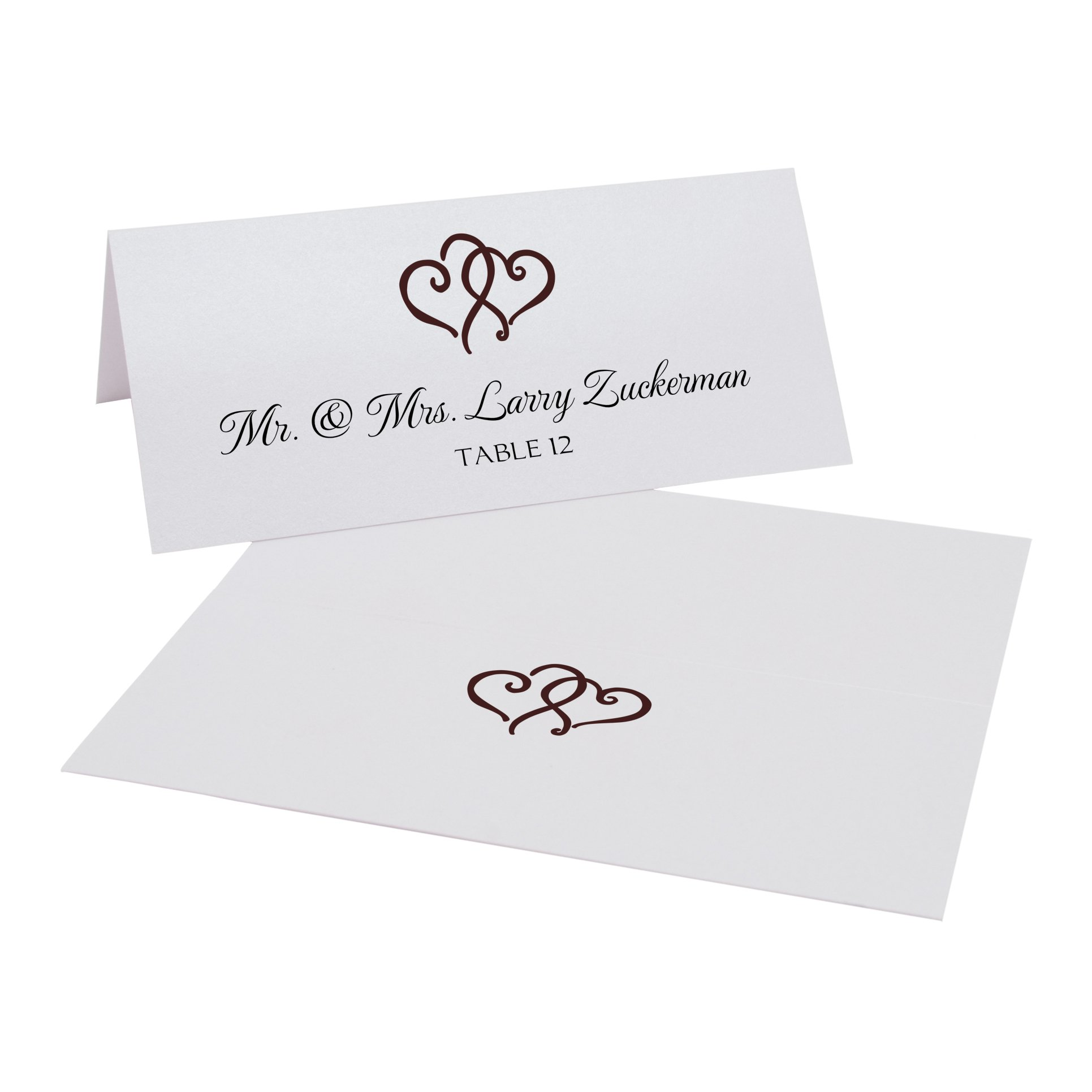 Linked Hearts Place Cards, Pearl White, Chocolate, Set of 375 by Documents and Designs